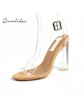 Rumbidzo 2018 Pvc Jelly Sandals Women Pumps Open Toe High Heels Ankle Strap Women Transparent Perspex Thick Heel Clear Sandalias by Rumbidzo