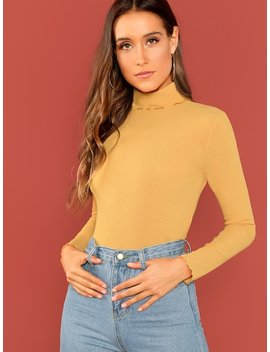 High Neck Fitted Solid Tee by Shein