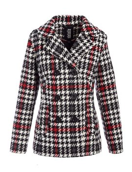 Black & Red Plaid Hooded Peacoat   Women & Plus by Zulily