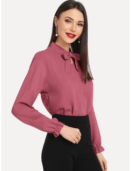 Tie Neck Blouse by Sheinside