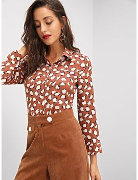 Allover Flower Print Buttoned Shirt by Shein