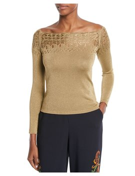 Off The Shoulder Long Sleeve Metallic Knit Top by Etro