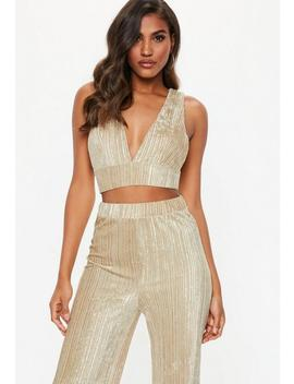 Champagne Crushed Velvet Crop Top by Missguided