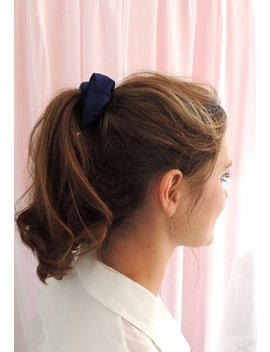 French Navy Blue Silk Satin Hair Elastic Scrunchie by Etsy