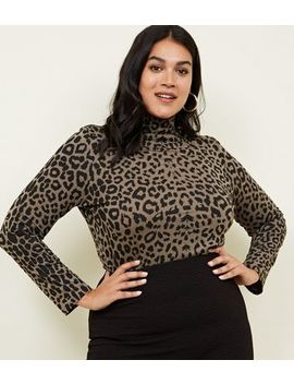 Curves Green Animal Print Roll Neck Top by New Look