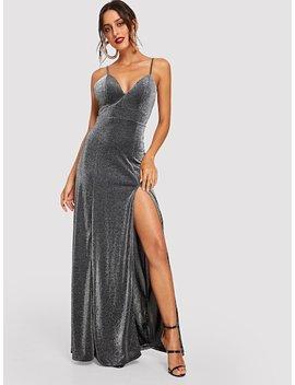 Slit Glitter Bodice Cami Dress by Shein