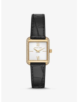 Lake Crocodile Embossed Leather Watch by Michael Kors