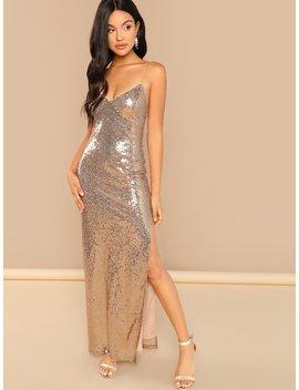 Split Side Sequin Cami Dress by Shein