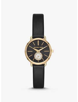 Petite Portia Gold Tone And Leather Watch by Michael Kors