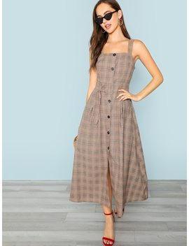 Button Up Self Belted Plaid Strapless Dress by Shein