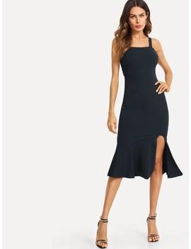Knot Slit Ruffle Hem Form Fitting Dress by Shein