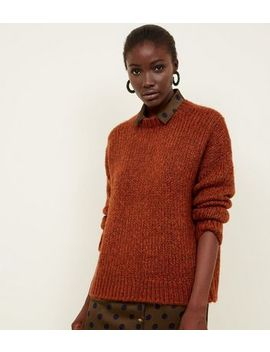 Rust Chunky Knit Slouchy Jumper by New Look