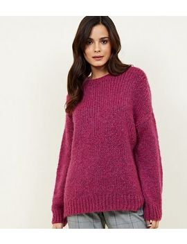 Bright Pink Chunky Knit Slouchy Jumper by New Look