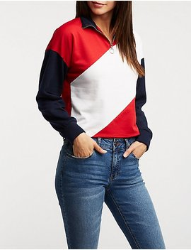 Colorblock Zip Sweater by Charlotte Russe