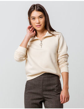 Full Tilt Half Zip Ivory Womens Crop Sweatshirt by Full Tilt