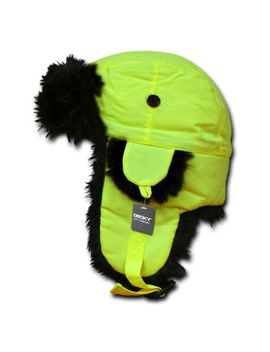 Neon Yellow Aviator Bomber Faux Fur Ski Winter Trooper Trapper Ear Flap Hat L/Xl by Decky / R.D