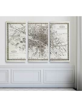 Vintage Paris Map Outline by Wexford Home