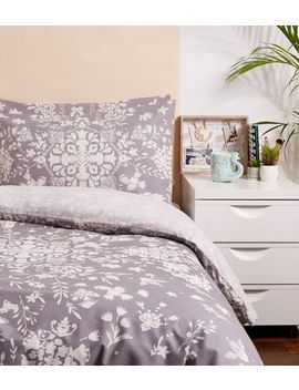 Grey Floral Cotton Double Duvet Set by New Look