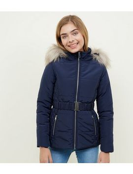 Girls Navy Faux Fur Trim Hood Belted Puffer Jacket by New Look