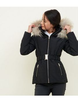 Girls Black Faux Fur Trim Hood Belted Puffer Jacket by New Look