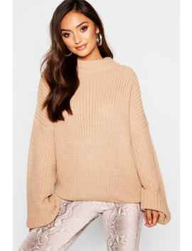 Petite Oversized Bell Sleeve Thick Knit Jumper by Boohoo