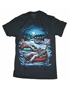 Fashion Freddy Krueger & Jason On Pool Floaties Black Graphic T Shirt by Fashion