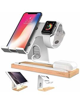 Lameeku Compatible Cell Phone Stand Replacement For I Phone, Desktop Stand Holder Dock For I Pad 2017 Pro 9.7, 10.5, Air Mini 2 3 4, Tablets, I Phone, Android Smartphone   Silver by Lameeku