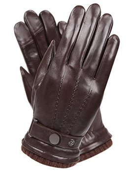 Men's Texting Touchscreen Winter Warm Nappa Leather Daily Dress Driving Gloves Wool/Cashmere Blend Cuff by Warmen