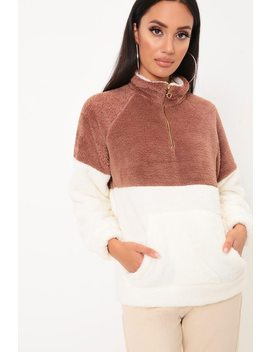 Brown & Cream Colourblock Fleece Jumper by I Saw It First