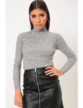 Grey High Neck Fine Knit Ribbed Jumper by I Saw It First