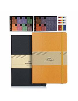 2 Pack Classic Notebooks/Journals – Premium Thick Paper Faux Leather Hardcover Writing Notebook, College Ruled Lined Page, 5 X 8.25 Inch, 1 Black + 1 Yellow by Ai Natebok