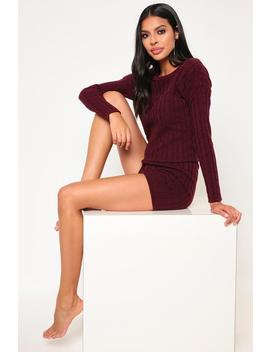 Wine Cable Knit Shorts Set by I Saw It First