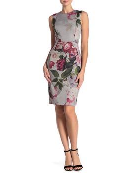 Floral Sleeveless Sheath Dress by Modern American Designer