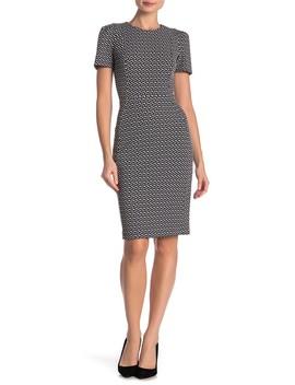 Patterned Short Sleeve Sheath Dress by Modern American Designer