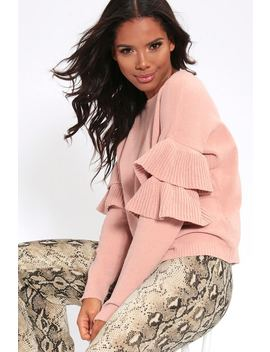 Rose Chenille Loose Fit Jumper With Double Frilled Sleeves by I Saw It First