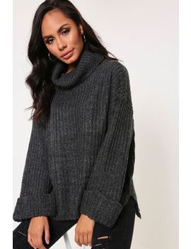 Charcoal Oversized Jumper With Roll Neck by I Saw It First
