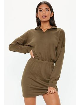 Khaki Oversized High Neck Ruched Waist Sweater Dress by Missguided