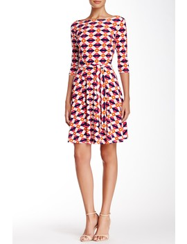 Belted Print Jersey A Line Dress by Leota