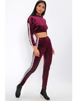 Wine Velour Side Stripe Tracksuit Trousers by I Saw It First