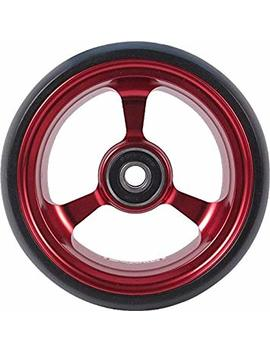"Riantwheel, 4""X 1.4"", Solid, Pu Wheels, Wheelchair Casters, Aluminum Rim, One Pair (Red) by Riant Wheel"