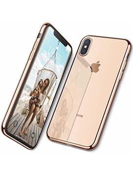 Dtto Case For I Phone Xs Max, [Lightening Series] Clear Stylish Flexible Case With Metal Luster Edge For Apple I Phone Xs Max 6.5 Inch (2018 Released)   Gold by Dtto