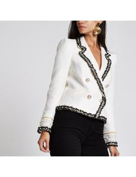 Cream Boucle Double Breasted Contrast Jacket by River Island