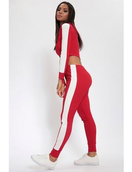 Red Tracksuit Joggers With Block Side Stripe by I Saw It First