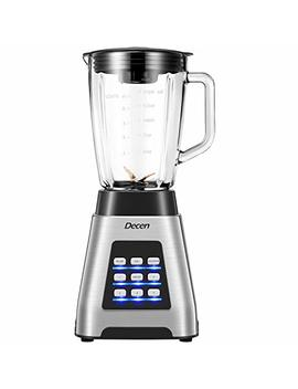 Decen Blender Smoothie Blender 1000 Watt Professional Blenders, Glass Jar Bpa Free, 5 Speed And 4 Programs Settings(24000 R/Min), Titanium Plated 6 Blades, Crushing Technology With Smoothies, Ice Anden Fruit, Stainless Steel Housing, Etl Fda App... by Decen
