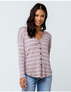 Sky And Sparrow Stripe Button Taupe Womens Thermal by Sky And Sparrow