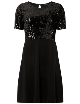 Black Sequin Top Skater Dress by Dorothy Perkins
