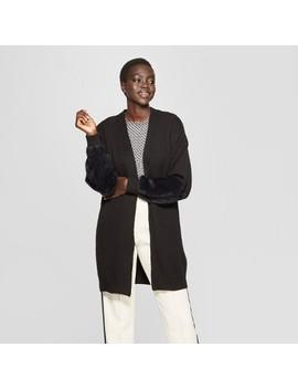 Women's Long Faux Fur Blocked Sleeve Cardigan   Who What Wear™ by Who What Wear
