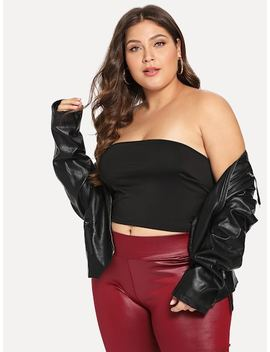 Plus Slim Fitted Bandeau Top by Shein