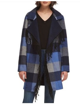 Long Sleeve Plaid Opem Front Coat by Dkny