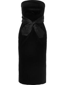 Strapless Bow Embellished Cotton Velvet Midi Dress by Alexachung